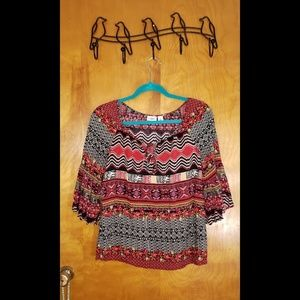 CATO Tribal Print Top with 3/4 Bell Sleeves